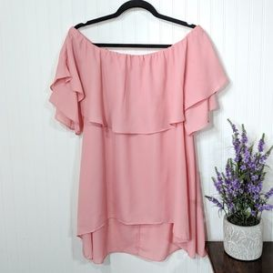Tops - Pretty in Pink Off the Shoulder Flounce Top  Large